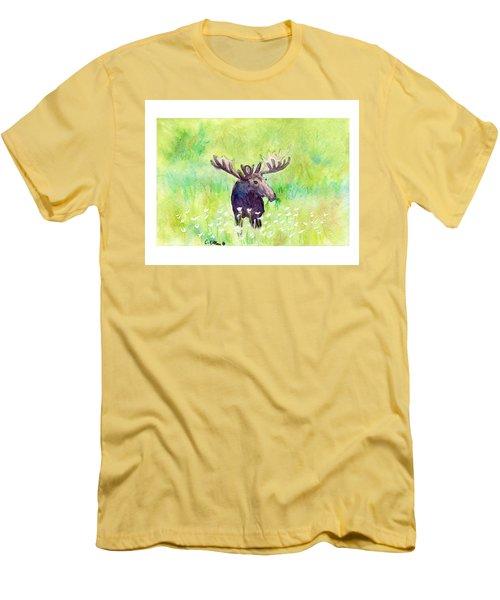 Moose In Flowers Men's T-Shirt (Slim Fit) by C Sitton