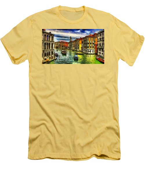 Men's T-Shirt (Slim Fit) featuring the painting Beautiful Morning In Venice, Italy by Georgi Dimitrov