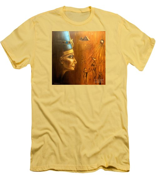 Men's T-Shirt (Slim Fit) featuring the painting Nefertiti by Arturas Slapsys