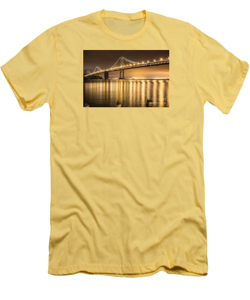 Night Descending On The Bay Bridge Men's T-Shirt (Slim Fit) by Suzanne Luft