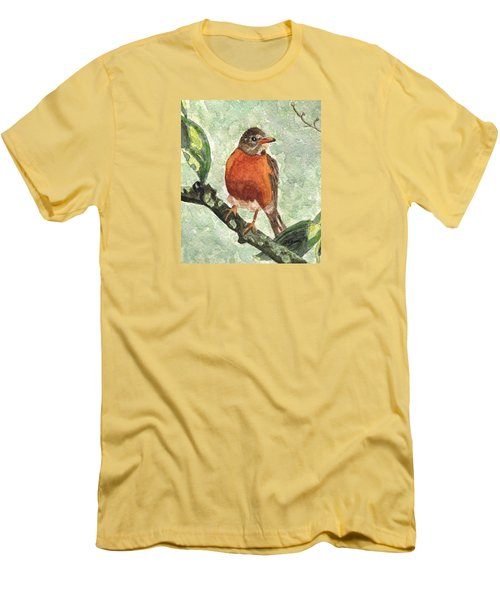Men's T-Shirt (Slim Fit) featuring the painting North American Robin by Angela Davies