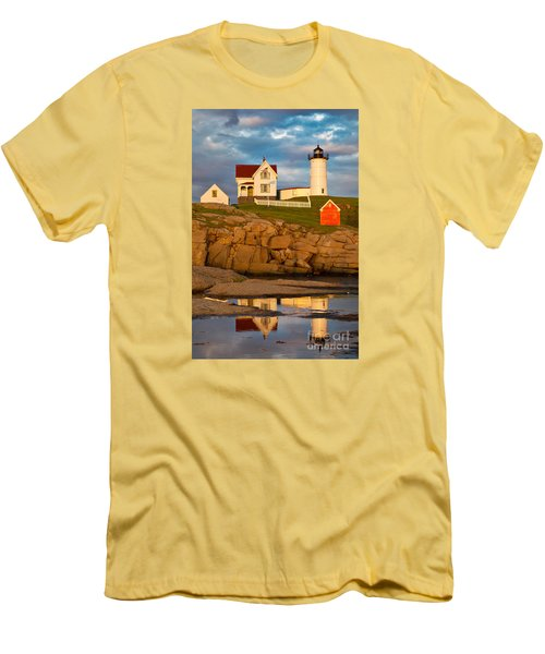 Men's T-Shirt (Slim Fit) featuring the photograph Nubble Lighthouse No 1 by Jerry Fornarotto