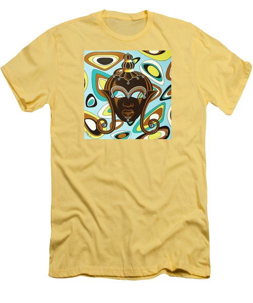 Men's T-Shirt (Slim Fit) featuring the painting Nubian Modern  Mask by Joseph Sonday