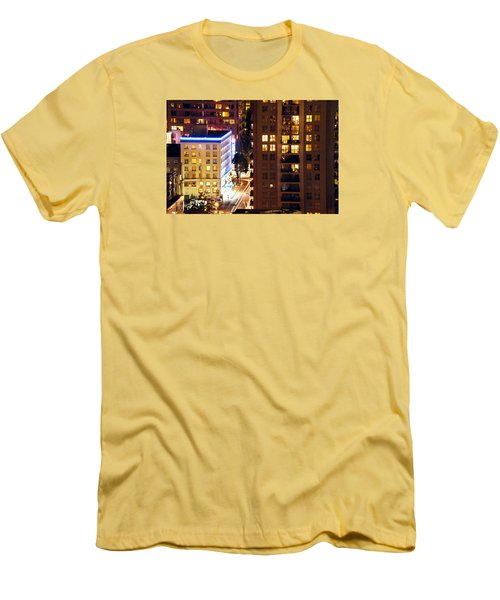 Men's T-Shirt (Slim Fit) featuring the photograph Observation - Man In Window Dclxxxi by Amyn Nasser