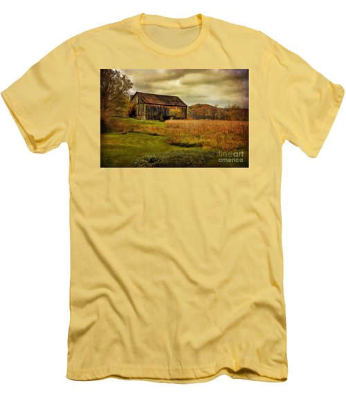 Old Barn In October Men's T-Shirt (Slim Fit) by Lois Bryan