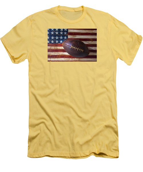Old Football On American Flag Men's T-Shirt (Slim Fit) by Garry Gay