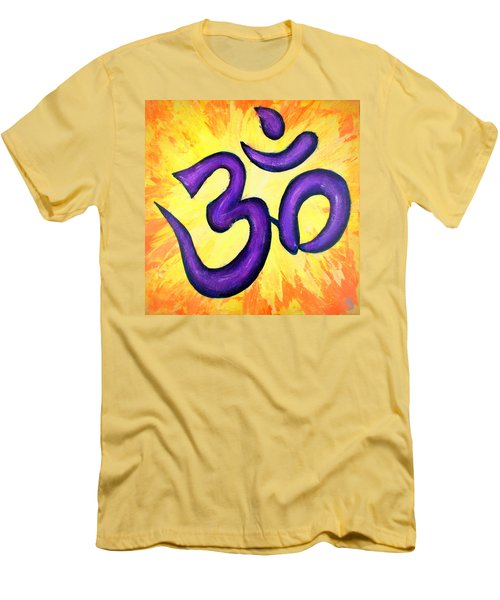 Men's T-Shirt (Athletic Fit) featuring the painting Om Symbol Art Painting by Bob Baker