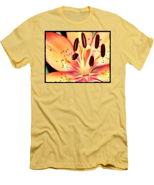 Orange And Pink Flower Men's T-Shirt (Athletic Fit)