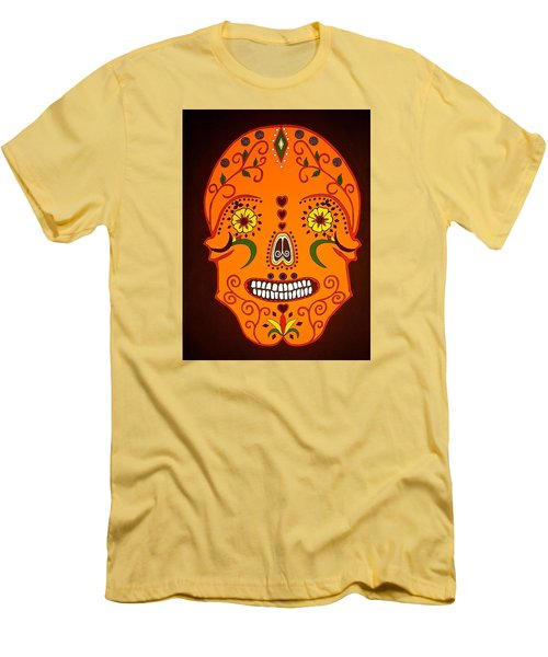 Orange Sugar Skull Men's T-Shirt (Slim Fit) by Stephanie Moore
