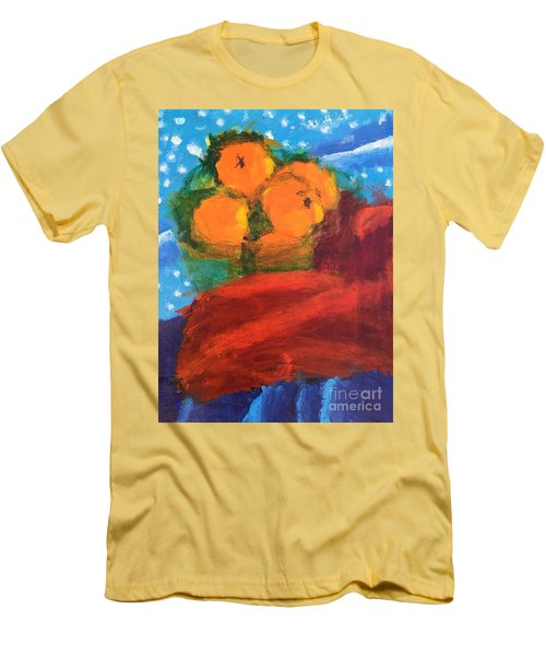 Men's T-Shirt (Slim Fit) featuring the painting Oranges by Donald J Ryker III