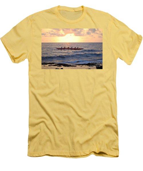 Outrigger Canoe At Sunset In Kailua Kona Men's T-Shirt (Slim Fit) by Catherine Sherman