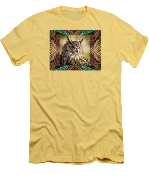 Men's T-Shirt (Slim Fit) featuring the photograph Owl With Collage Border by Janis Knight