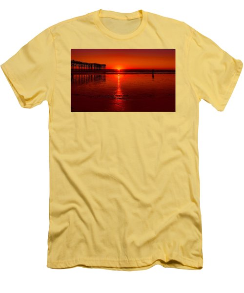 Pacific Beach Sunset Men's T-Shirt (Slim Fit) by Tammy Espino