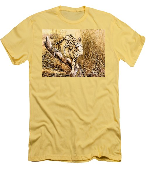 Painted Cheetah Men's T-Shirt (Slim Fit) by Kristin Elmquist