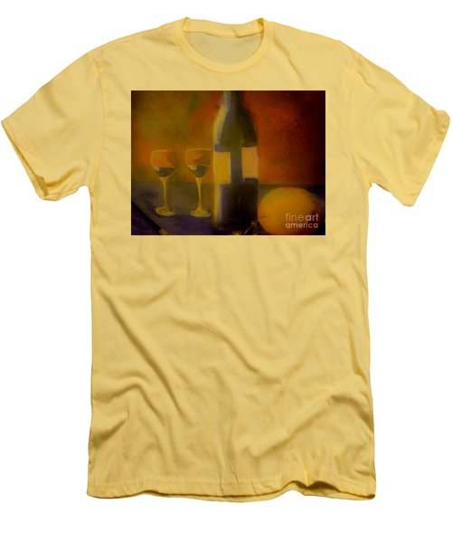 Men's T-Shirt (Slim Fit) featuring the painting Painting And Wine by Lisa Kaiser
