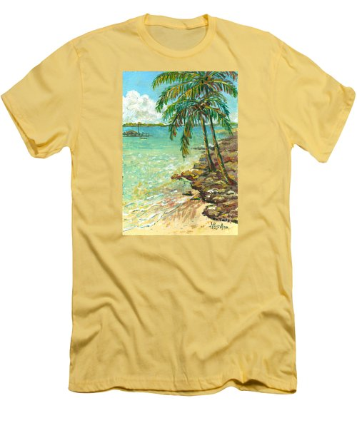 Palms On Point Of Rocks Men's T-Shirt (Slim Fit) by Lou Ann Bagnall