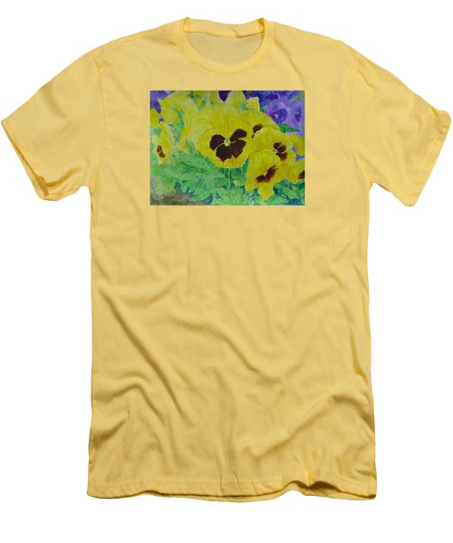 Pansies Colorful Flowers Floral Garden Art Painting Bright Yellow Pansy Original  Men's T-Shirt (Slim Fit) by Elizabeth Sawyer