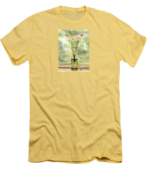 Men's T-Shirt (Slim Fit) featuring the painting Paper Whites In Sunlight by Angela Davies