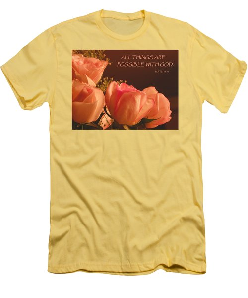 Peach Roses With Scripture Men's T-Shirt (Slim Fit) by Sandi OReilly