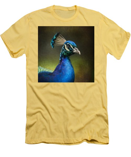 Men's T-Shirt (Slim Fit) featuring the photograph Peacock by Ann Lauwers