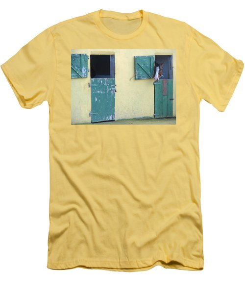 Men's T-Shirt (Slim Fit) featuring the photograph Peekaboo by Suzanne Oesterling