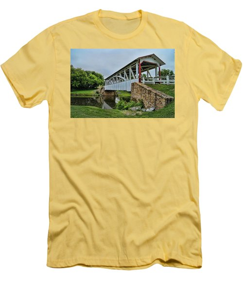 Men's T-Shirt (Slim Fit) featuring the photograph Pennsylvania Covered Bridge by Kathy Churchman