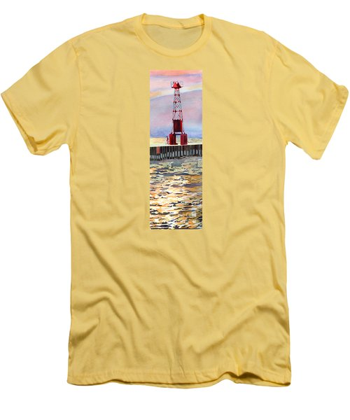 Pentwater South Pier Men's T-Shirt (Slim Fit) by LeAnne Sowa