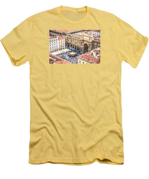 Piazza Della Repubblica Men's T-Shirt (Slim Fit) by Liz Leyden