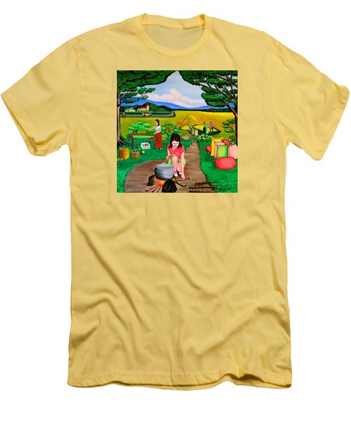 Men's T-Shirt (Slim Fit) featuring the painting Picnic With The Farmers by Lorna Maza
