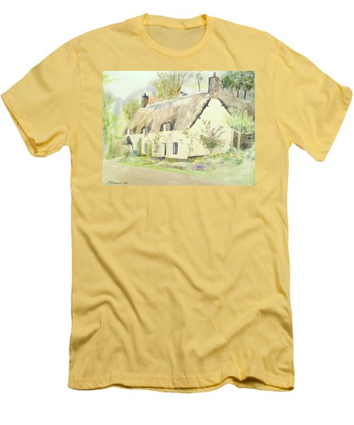 Picturesque Dunster Cottage Men's T-Shirt (Slim Fit) by Martin Howard