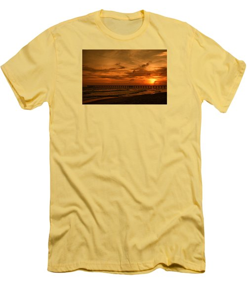 Pier At Sunset Men's T-Shirt (Slim Fit) by Sandy Keeton