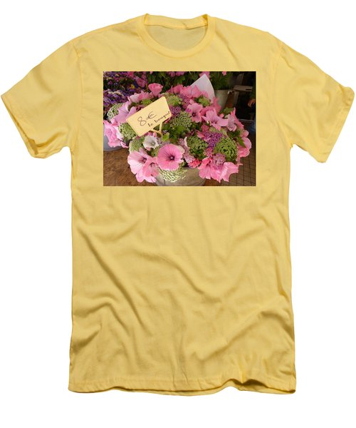 Pink Bouquet Men's T-Shirt (Slim Fit) by Carla Parris