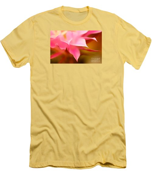 Pink Cactus Flower Abstract Men's T-Shirt (Slim Fit) by Michael Cinnamond