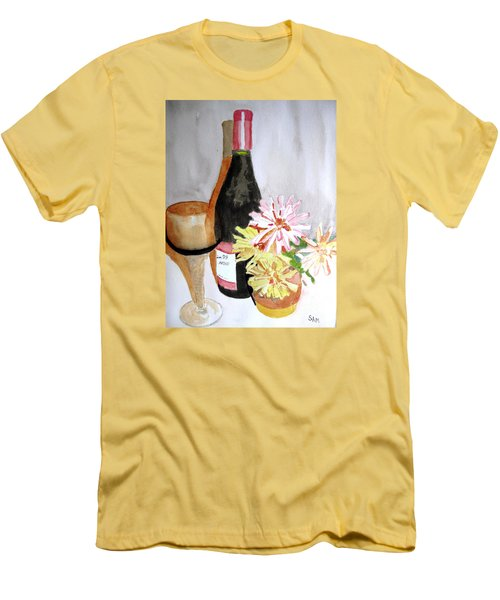 Men's T-Shirt (Slim Fit) featuring the painting Pinot Noir by Sandy McIntire