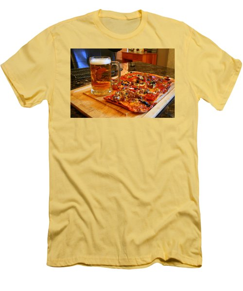 Pizza And Beer Men's T-Shirt (Slim Fit) by Kay Novy