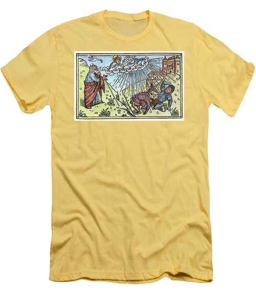 Men's T-Shirt (Slim Fit) featuring the painting Plague Of Hail by Granger