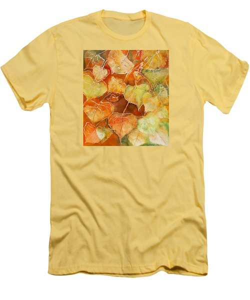 Men's T-Shirt (Slim Fit) featuring the painting Poplar Leaves by Susan Crossman Buscho