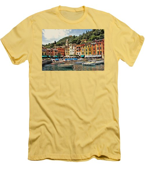 Men's T-Shirt (Slim Fit) featuring the photograph Portofino Harbor 2 by Allen Beatty