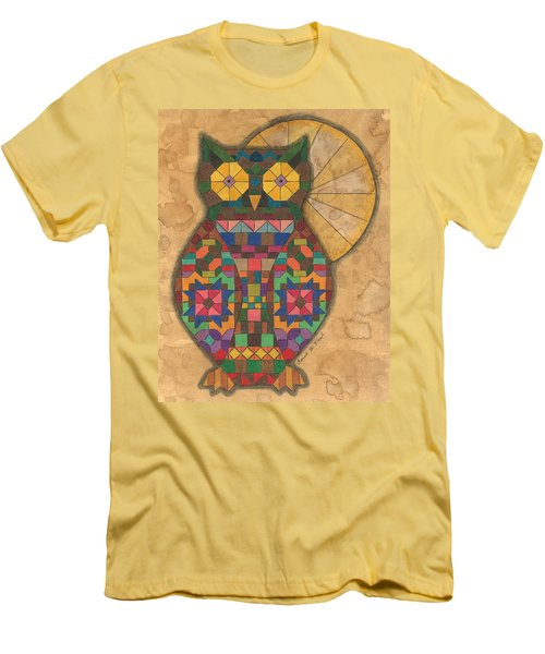 Quilted Owl Men's T-Shirt (Athletic Fit)