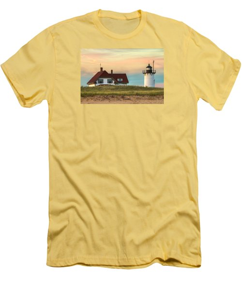 Race Point Light At Sunset Men's T-Shirt (Slim Fit) by Brian Caldwell