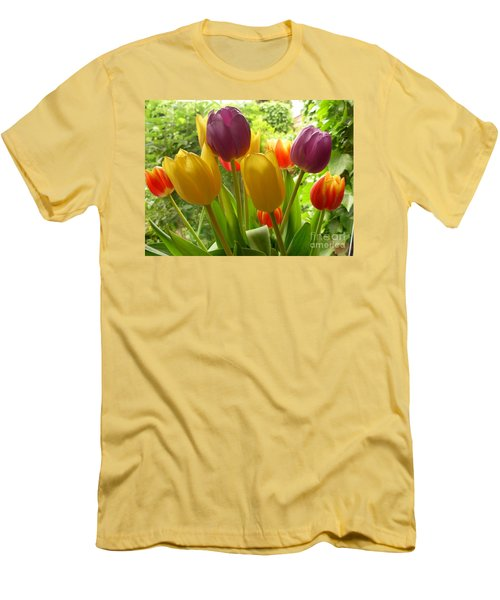 Rainbow Tulips  Men's T-Shirt (Athletic Fit)