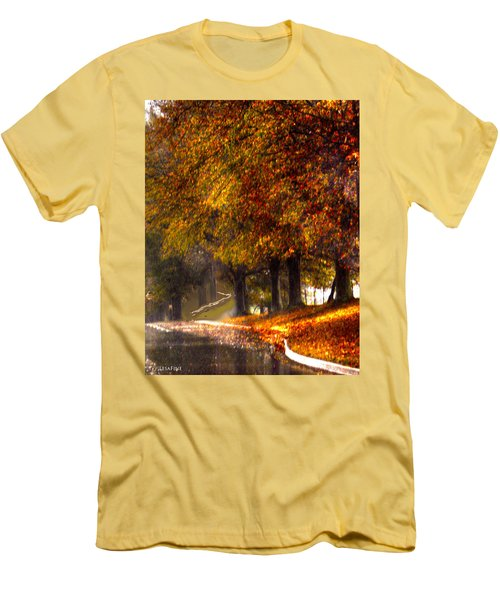 Men's T-Shirt (Slim Fit) featuring the photograph Rainy Day Path by Lesa Fine