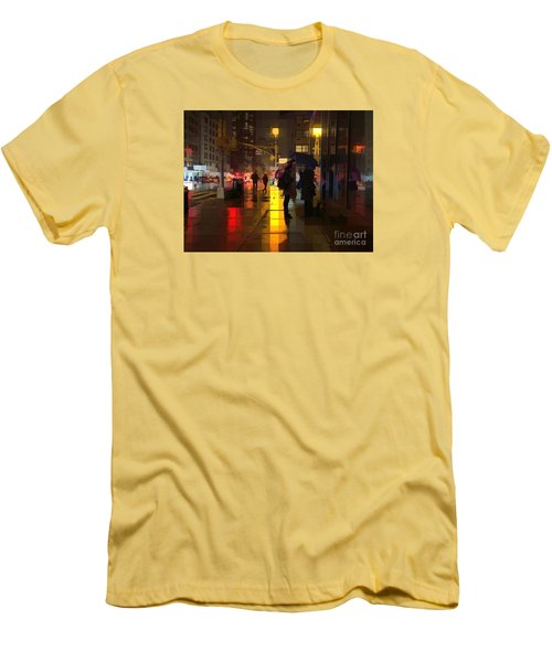 Rainy Night New York Men's T-Shirt (Slim Fit) by Miriam Danar