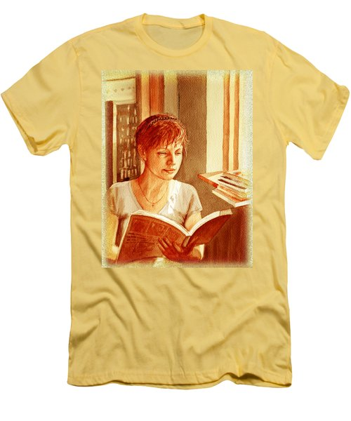 Men's T-Shirt (Slim Fit) featuring the painting Reading A Book Vintage Style by Irina Sztukowski