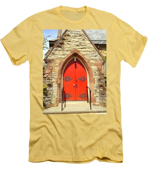 Men's T-Shirt (Slim Fit) featuring the photograph Red Church Door by Becky Lupe