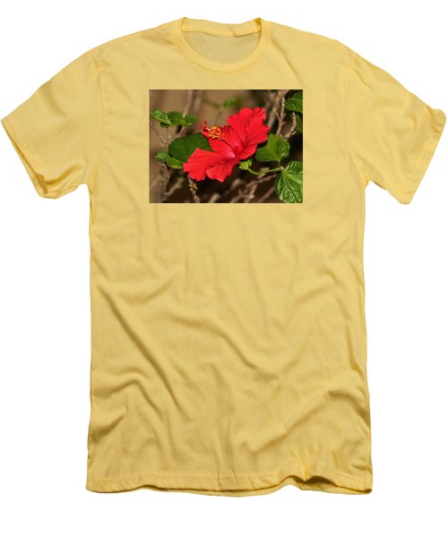 Red Hibiscus Flower Men's T-Shirt (Slim Fit) by Cynthia Guinn