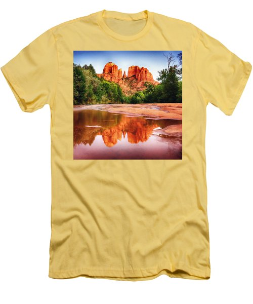 Red Rock State Park - Cathedral Rock Men's T-Shirt (Slim Fit) by Bob and Nadine Johnston