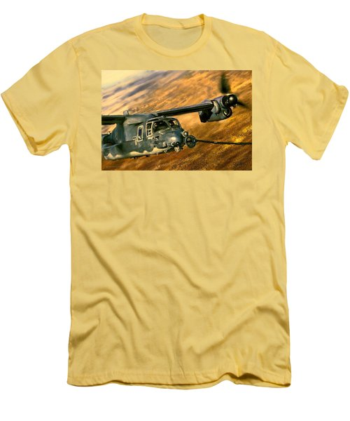 Men's T-Shirt (Slim Fit) featuring the painting Refueling by Dave Luebbert