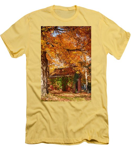 Men's T-Shirt (Slim Fit) featuring the photograph Rock Of Ages Surrouded By Color by Jeff Folger