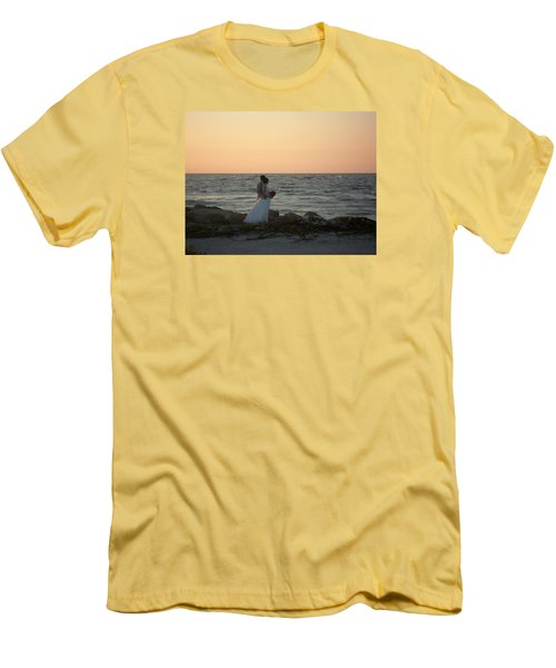 Romance In Captiva Men's T-Shirt (Slim Fit) by Val Oconnor